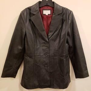 Worthington 100% Genuine Leather Black Jacket